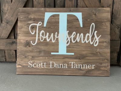 14x19 $62 Initial Name Sign