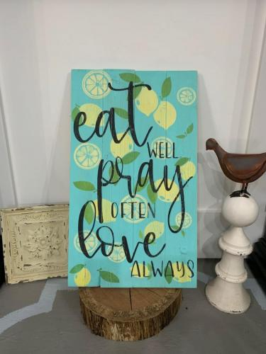 14x24 $45 Eat Pray Lemons
